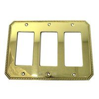 Omnia Industries - Switchplates - Beaded Triple Rocker Cutout Switchplate in Polished and Lacquered Brass