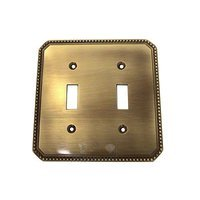 Omnia Industries - Switchplates - Beaded Double Toggle Switchplate in Shaded Bronze Lacquered
