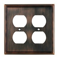 Richelieu Hardware - Switchplates - Contemporary Double Duplex Outlet in Brushed Oil Rubbed Bronze