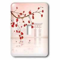 Jazzy Wallplates - Scenic - Single Toggle Switchplate With Japanese Sakura Red Cherry Blossoms Branching Reflecting Over Water