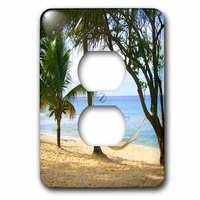 Jazzy Wallplates - Scenic - Single Duplex Wall Plate With Tropical Beach Hammock.
