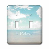 Jazzy Wallplates - Scenic - Double Toggle Wall Plate With Print Of Word Relax On Soft Aqua And Cream Beach Scene