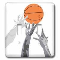 Jazzy Wallplates - Sports - Double Toggle Switchplate With Basketball Up For Grabs Vector Sports Design
