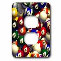 Jazzy Wallplates - Sports - Single Duplex Wallplate With Billiard Balls Pool