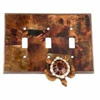 Verona Bronze Switchplates - Land and Sea Wallplate - Triple Toggle Switchplate in Antique Dark Bronze with Penshell Inlay