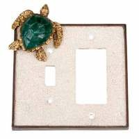 Verona Bronze Switchplates - Land and Sea Wallplate - Single Toggle Single Rocker Combo Switchplate in Antique Dark Bronze with Sand Inlay