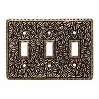 Vicenza Hardware - San Michele - Triple Toggle Switchplate in Satin Nickel