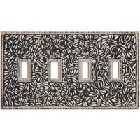 Vicenza Hardware - San Michele - Quadruple Toggle Switchplate in Satin Nickel