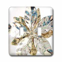 Jazzy Wallplates - Flowers - Double Toggle Wall Plate With Silver Petals On White