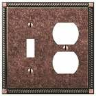 Amerelle Decorative Wallplates - Gregorian - Single Toggle Single Duplex Combo Wallplate in Tumbled Aged Bronze