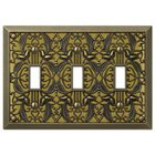 Amerelle Decorative Wallplates - Filigree - Triple Toggle Wallplate in Antique Brass