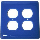 Hot Knobs - Solids Collection - Double Outlet Glass Switchplate in Egyptian Blue